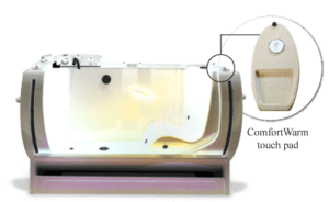 ComfortWarm tub feature to offer your resident a more pleasent bath experience.